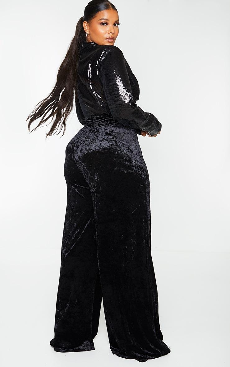 Plus Black Premium Velvet Sequin Detail High Neck Cut Out Wide Leg Jumpsuit 2