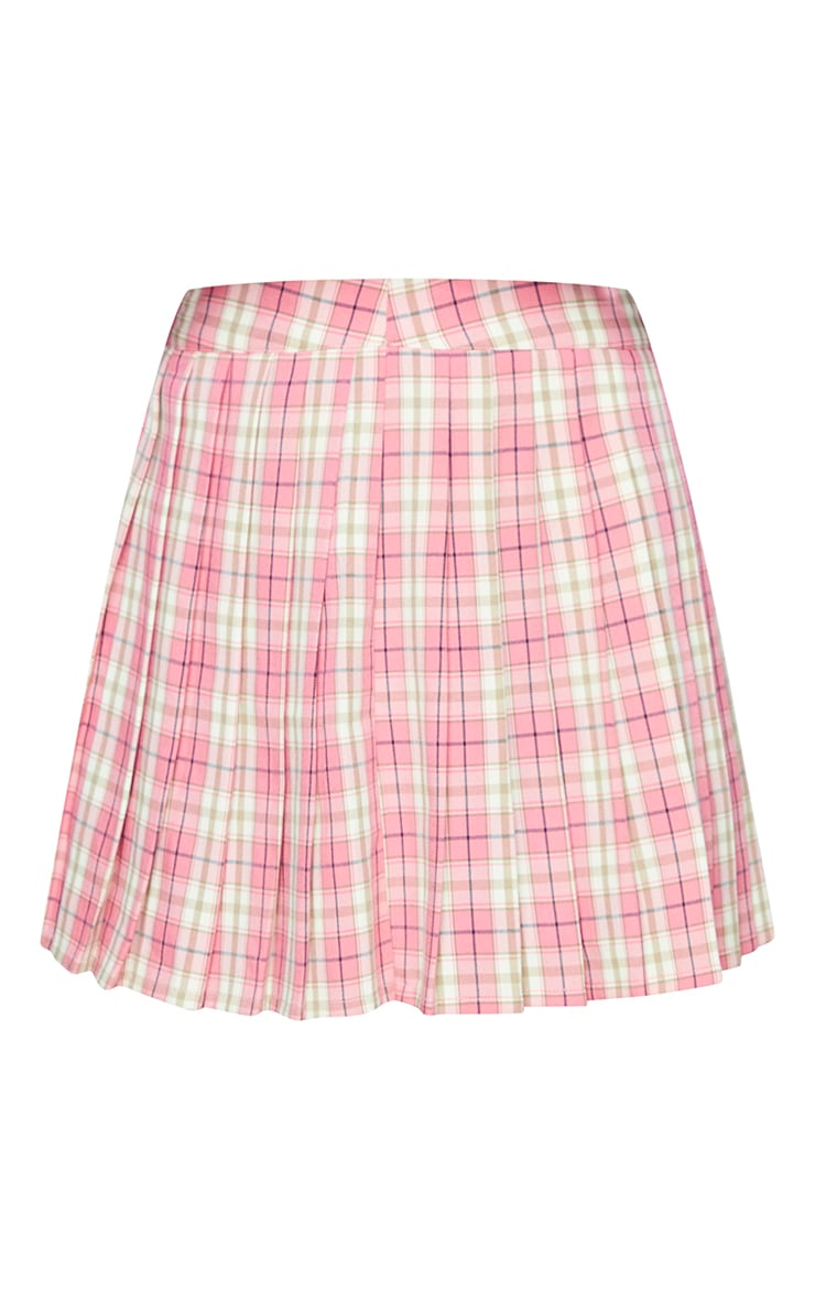 Pink Woven Check Pleated Tennis Skirt 5