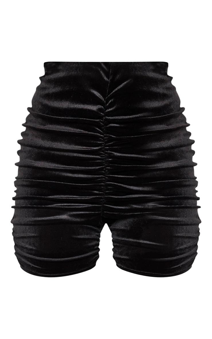 Black Velvet Ruched Cycle Short 3