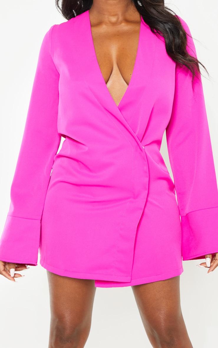 Petite Fuchsia Plunge Flare Sleeve Blazer Dress 5