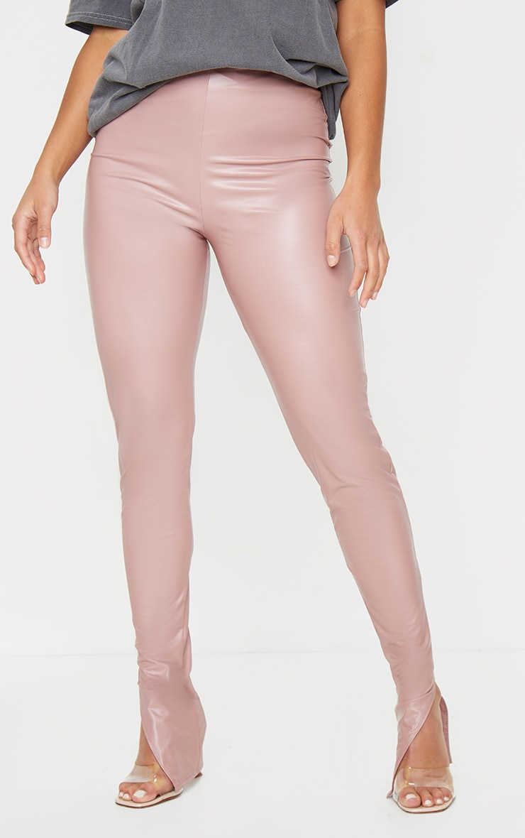 Petite Dusty Pink Split Hem Coated PU Leggings 2