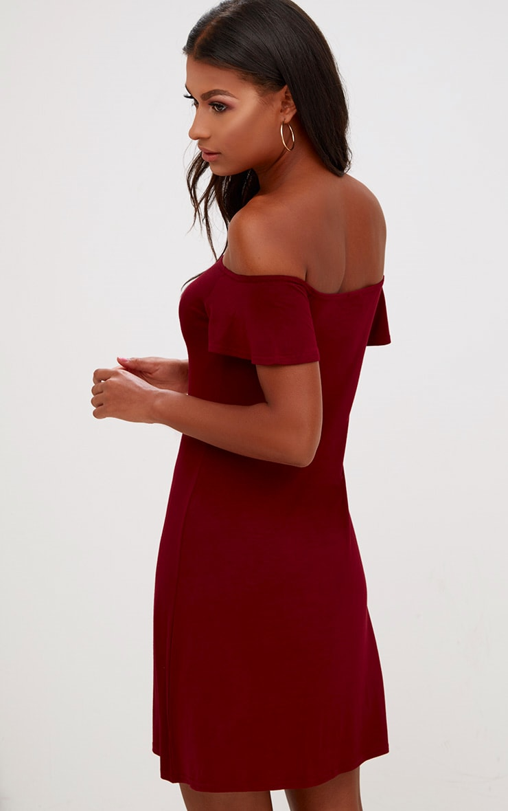 Manina Burgundy Jersey Bardot Shift Dress 2