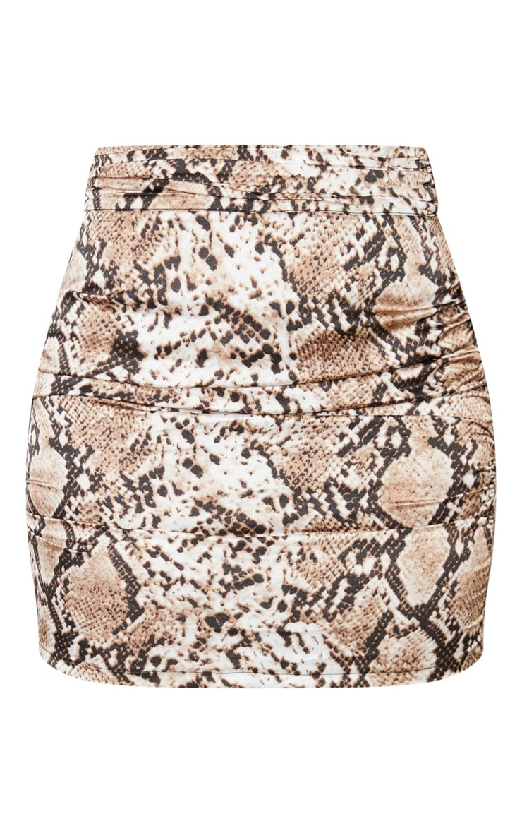 Brown Snake Print Woven Ruched Side Mini Skirt 4