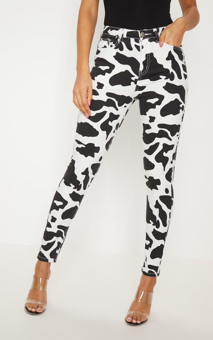 Cow Print 5 Pocket Skinny Jean 2