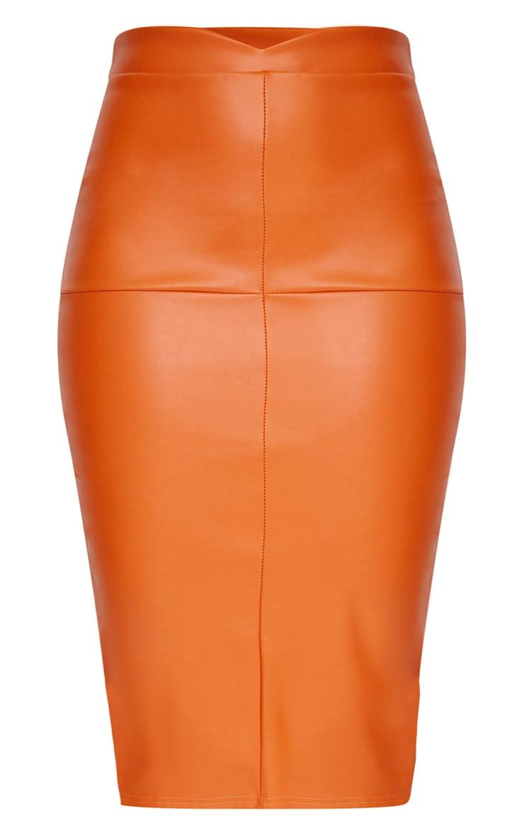 Orange Faux Leather Panel Midi Skirt  3