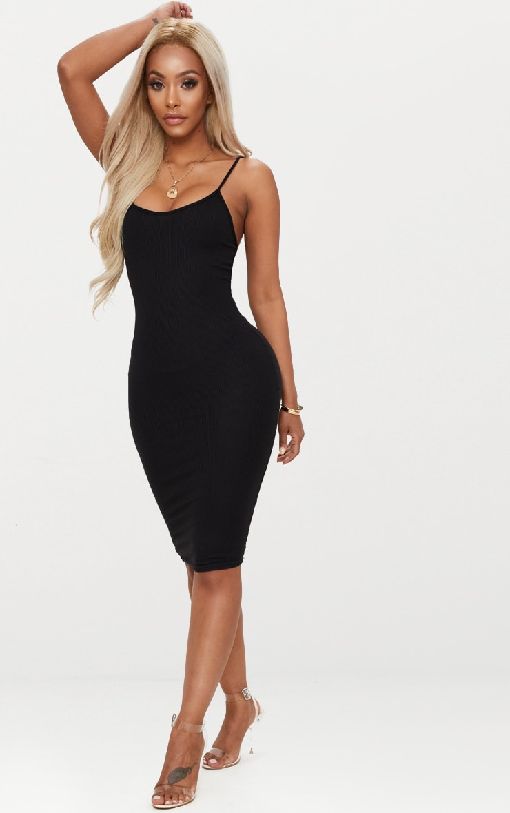 Shape Black Ribbed Strappy Midi Dress 4