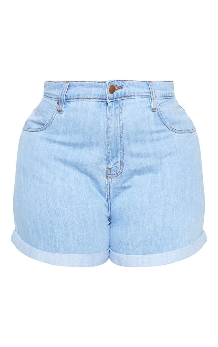 Plus Light Wash Turn Up Hem Mom Shorts 3