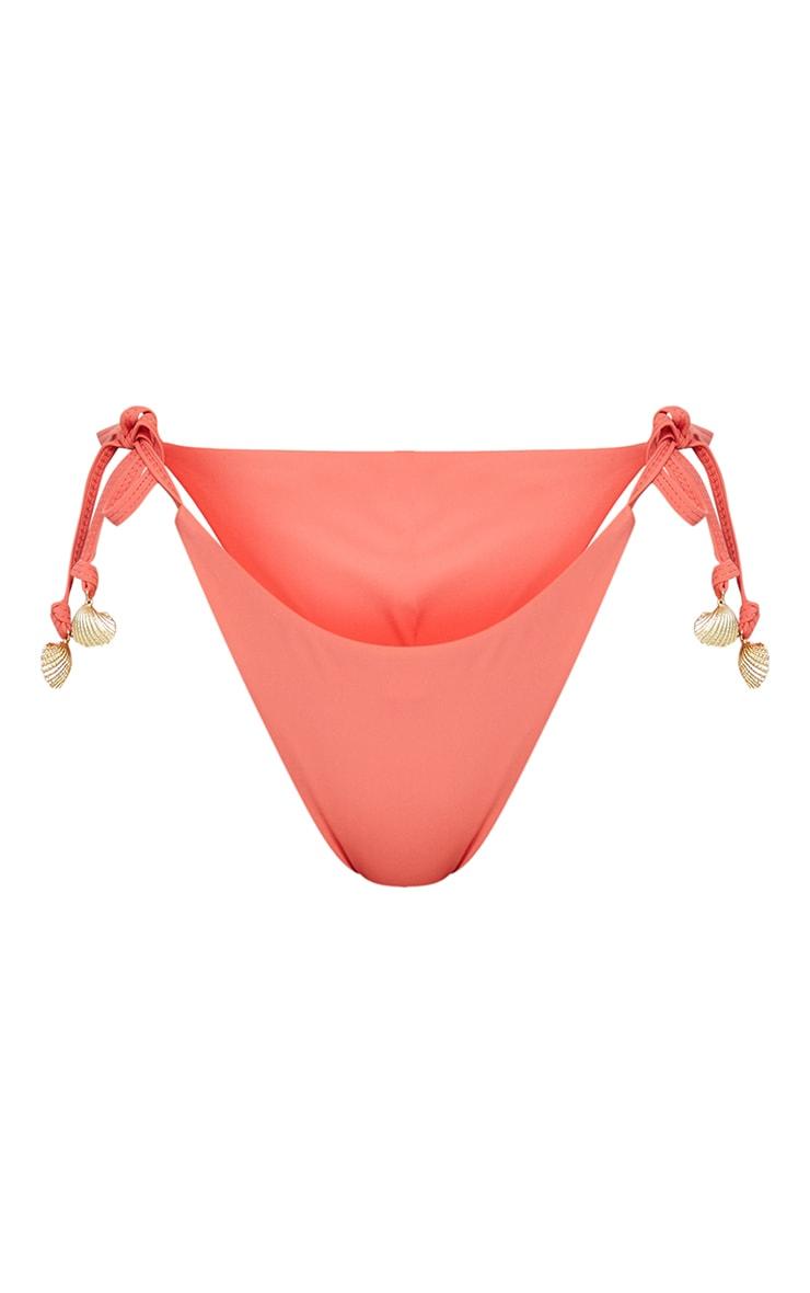 Coral Shell Detail Tie Side Bikini Bottoms 5