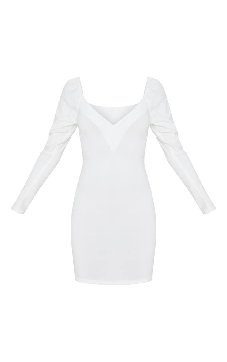 White V Neck Puff Shoulder Bodycon Dress 3