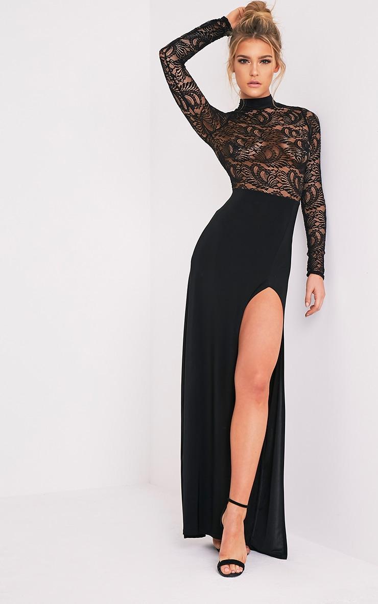Maisie Black Lace Top Split Side Maxi Dress 4