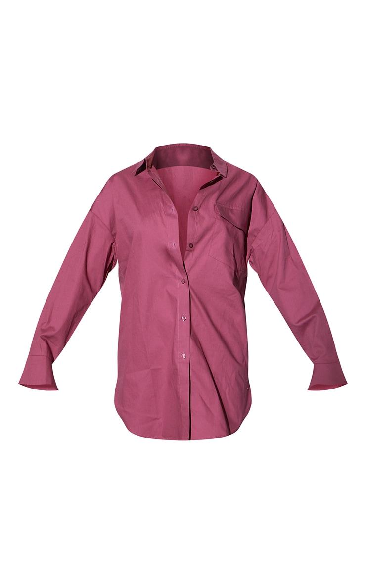 PLT Renew - Robe chemise oversize rouge délavé à manches cloche et détail manchettes 5