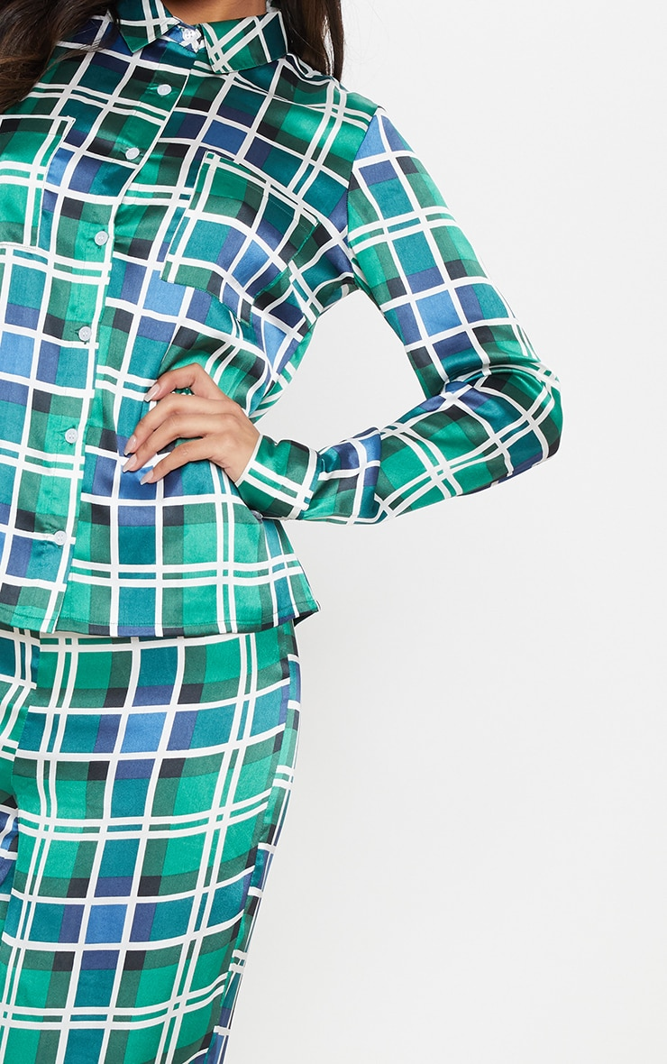 Green Check Print Long Sleeve Satin Pyjama Set 4
