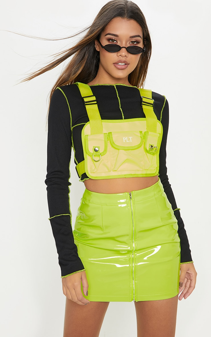 Neon Lime Vinyl Mini Skirt 1