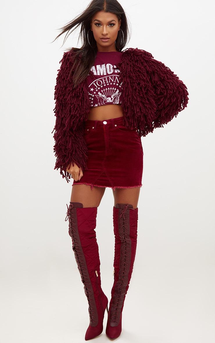 Burgundy Cord Mini Skirt 5