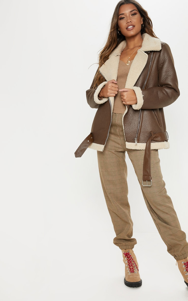Brown Oversized PU Aviator