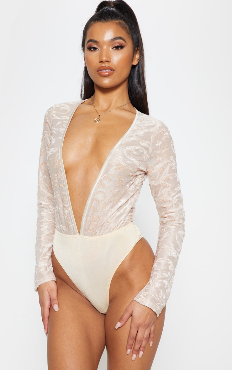 Champagne Devore Plunge Long Sleeve Bodysuit 2