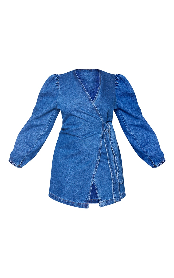 Plus Dark Blue Denim Puff Sleeve Wrap Dress 5