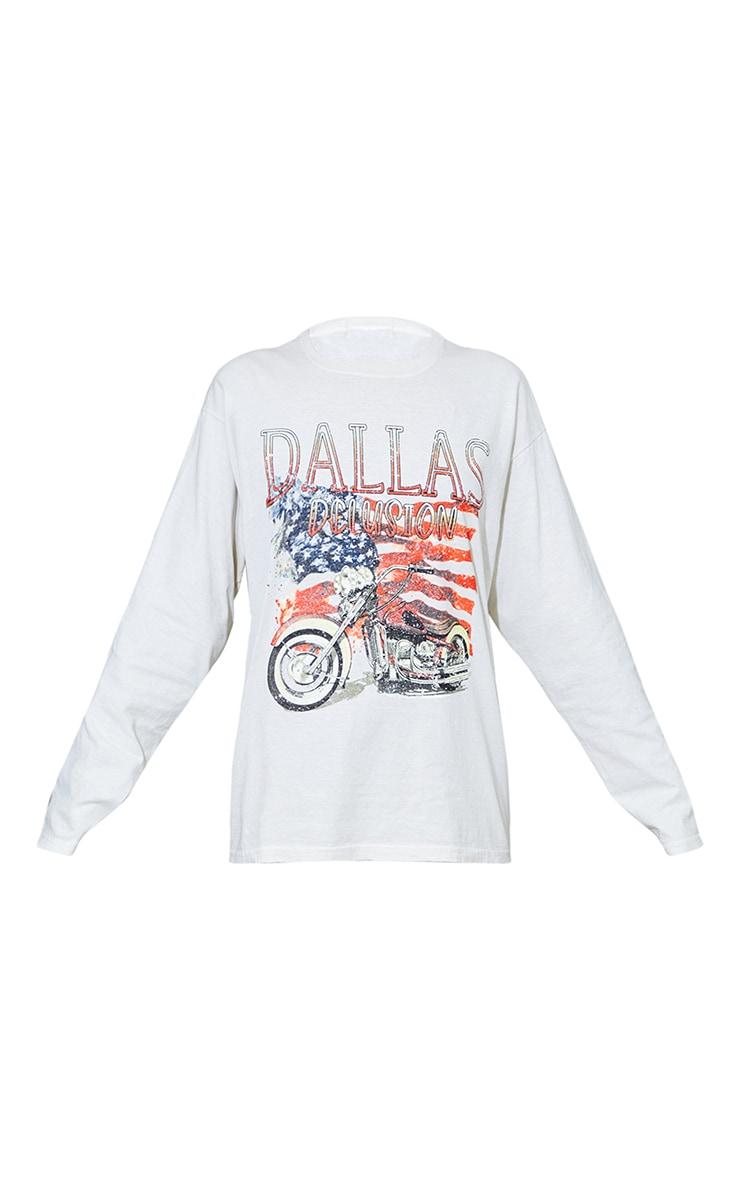 Cream Dallas Printed Stone Washed Long Sleeve T Shirt 5