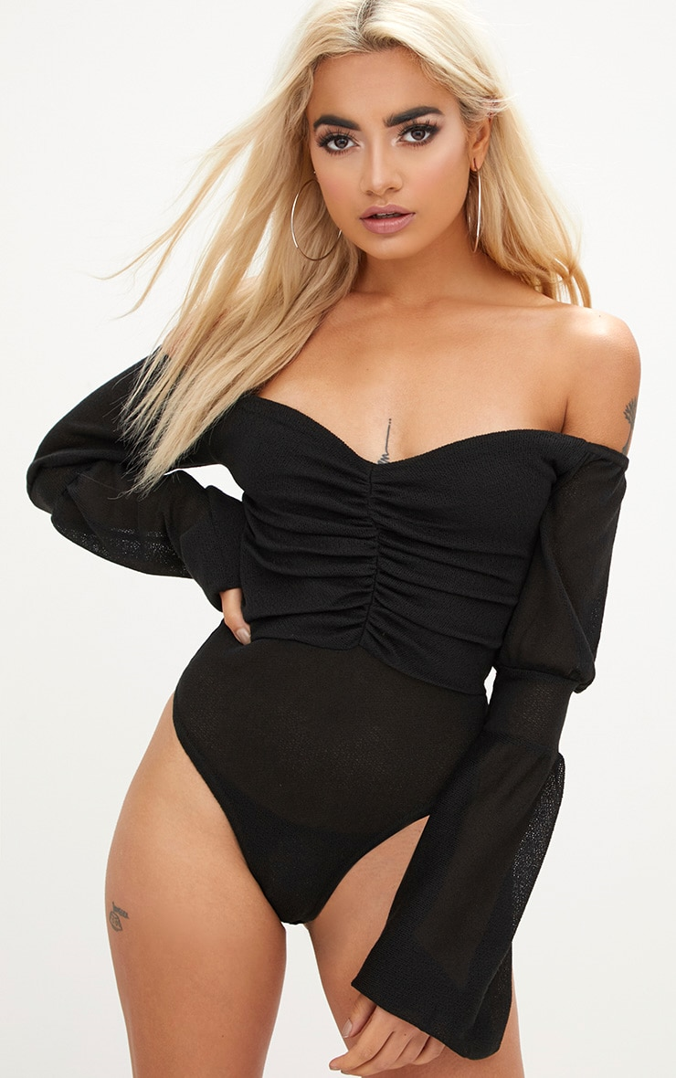 Black Bardot Ruched Balloon Sleeve Thong Bodysuit 2