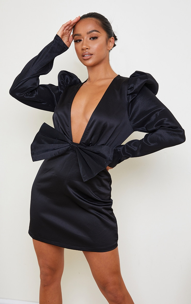 Petite Black Satin Puff Shoulder Bow Detail Dress 1