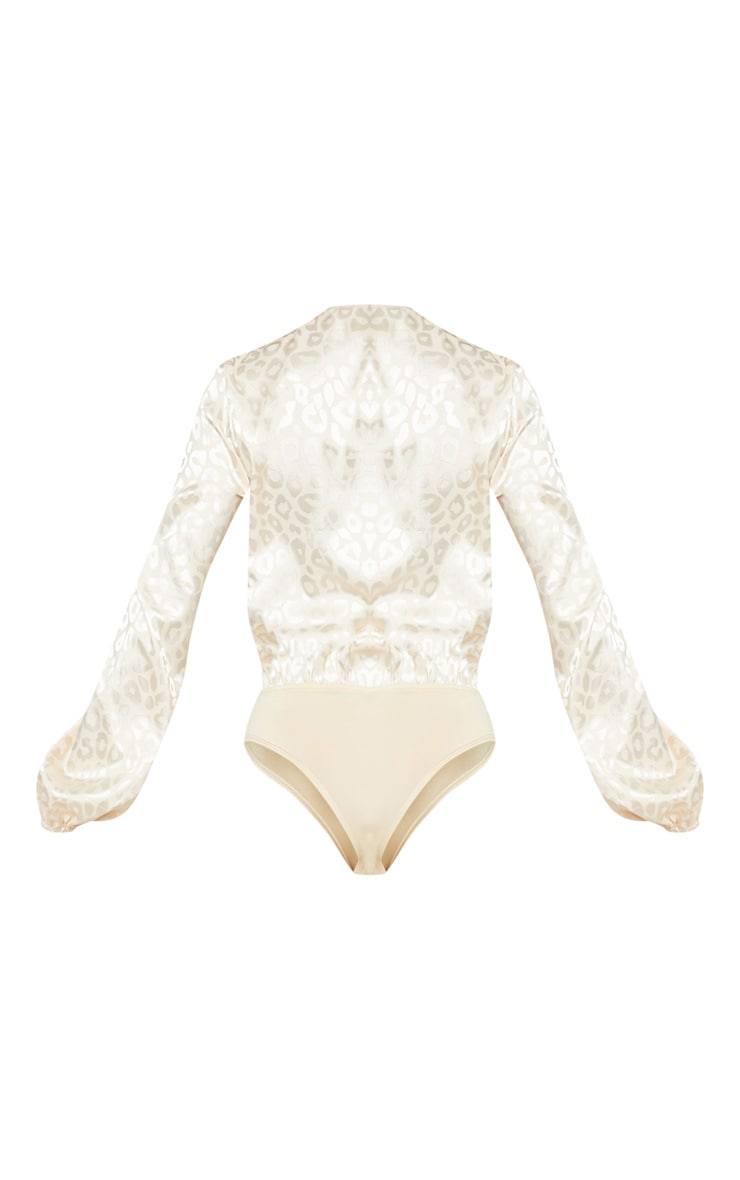 Champagne Printed Satin Plunge Long Sleeve Bodysuit 4