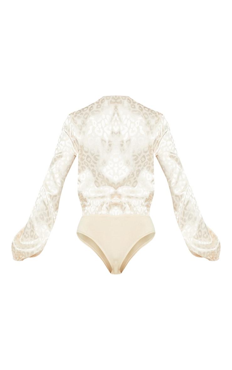 Champagne Printed Satin Plunge Long Sleeve Bodysuit 5