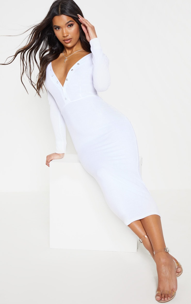 White Rib Popper Front Plunge Bodycon Dress 1