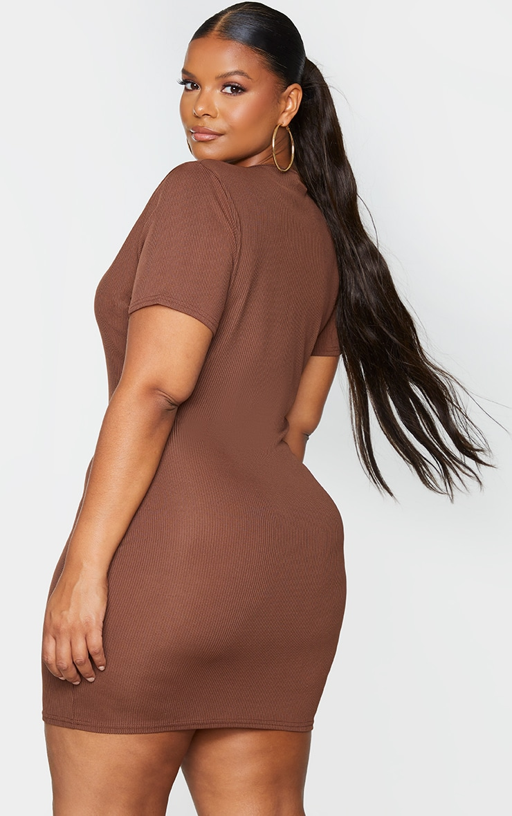 RECYCLED Plus Chocolate Rib Short Sleeve Split Neck Bodycon Dress 2
