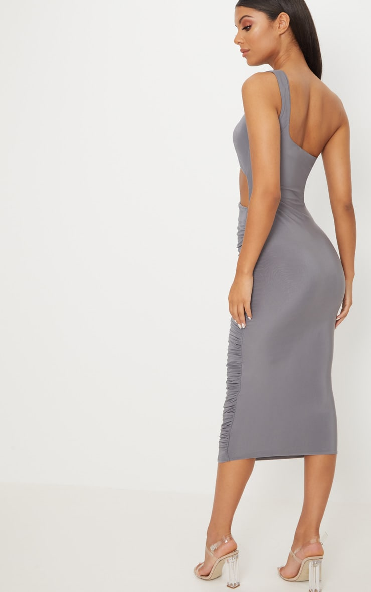 Charcoal Grey Double Layer Slinky One Shoulder Cut Out Detail Ruched Midaxi Dress  2