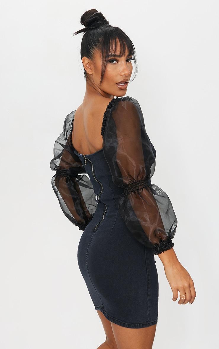 Black Organza Sleeve Denim Dress 2