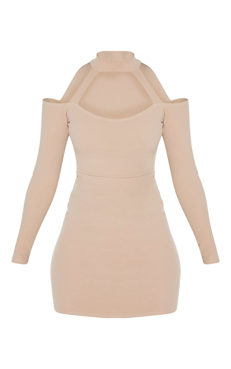 Taupe Bardot High Neck Cut Out Bodycon Dress 3