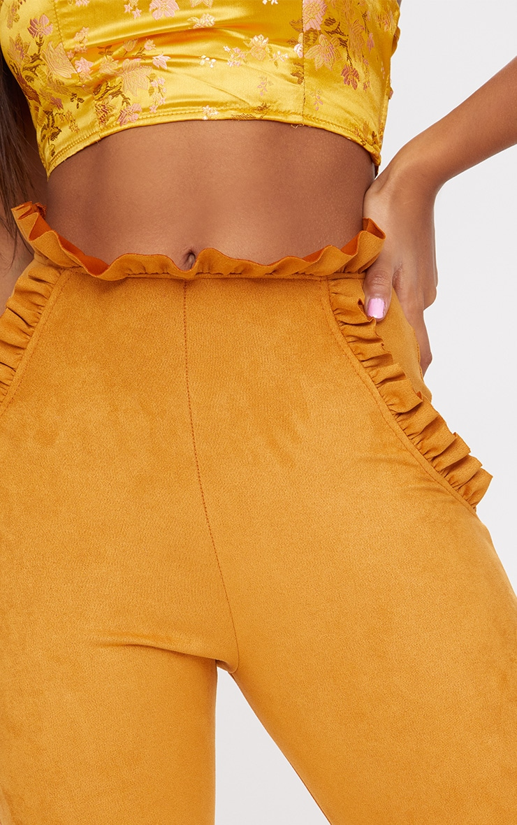 Mustard Faux Suede Frill Trim Trousers 5
