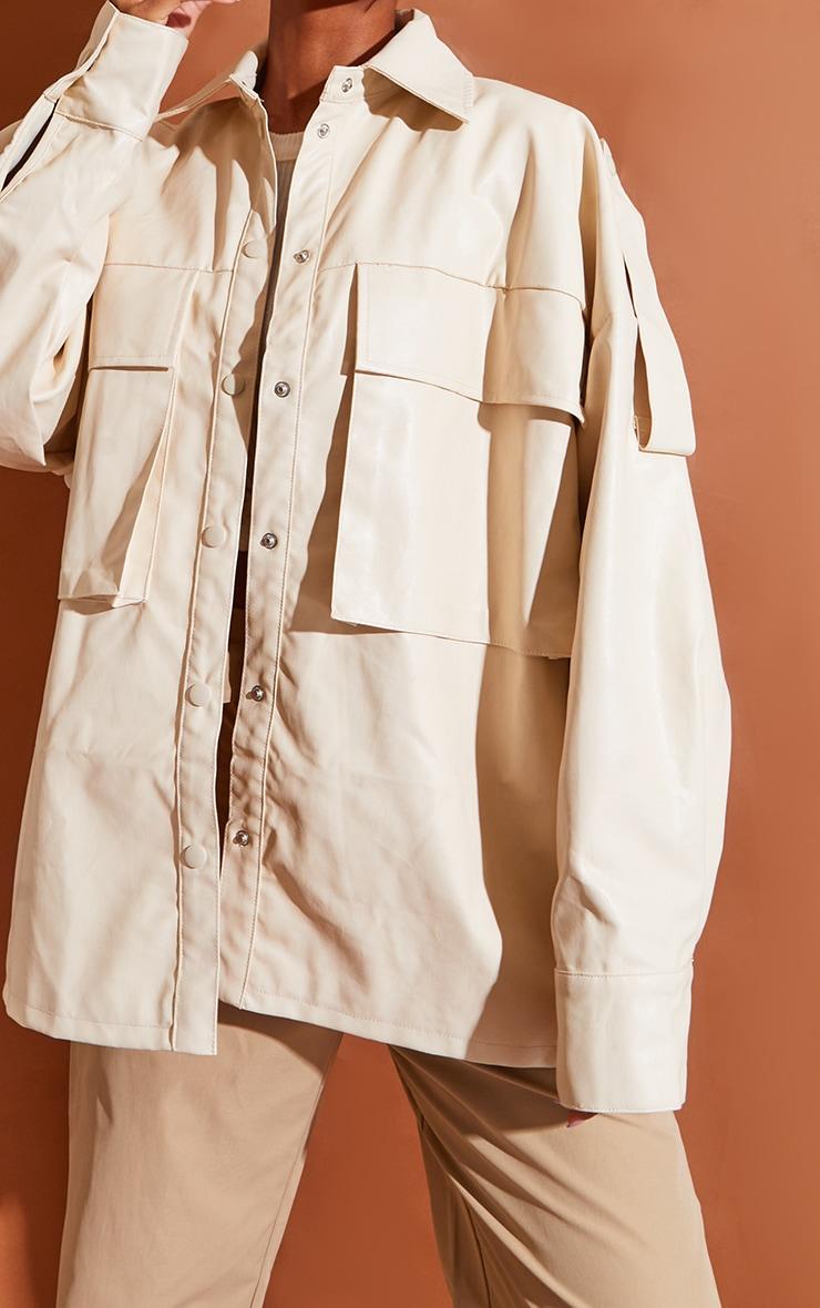 Cream PU Oversized Drop Shoulder Exaggerated Pocket Front Shacket 4