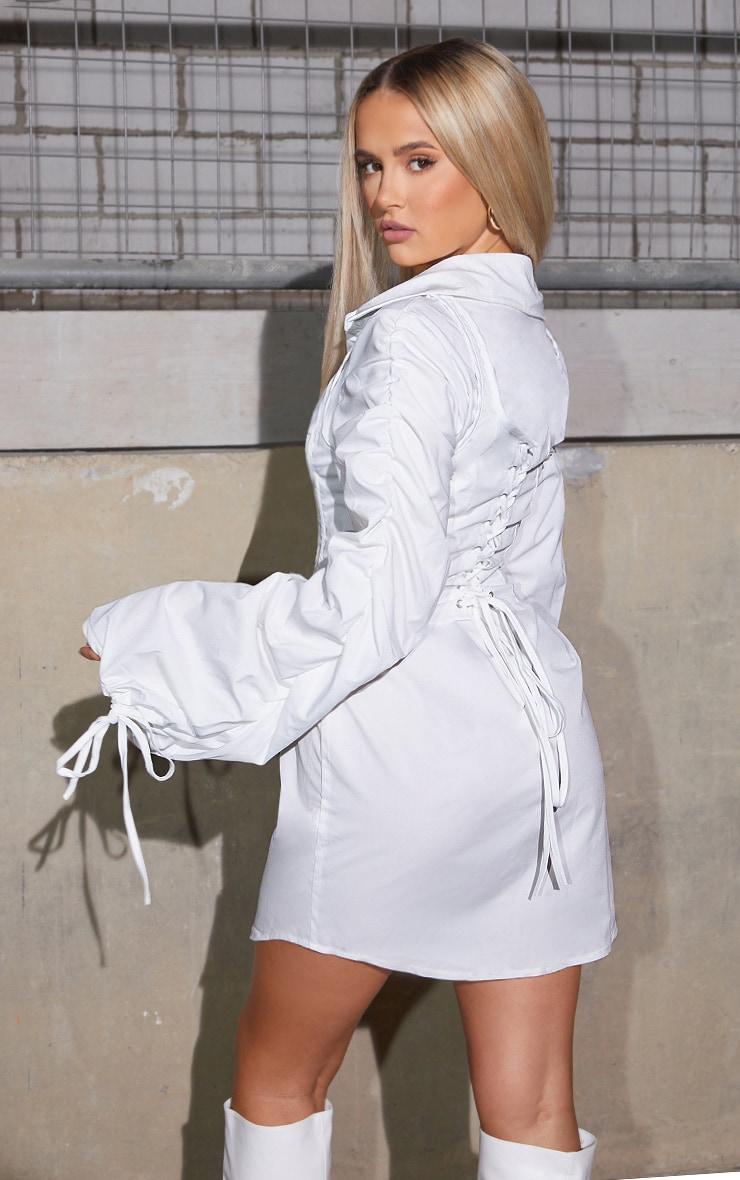 White Long Flared Sleeve Lace Up Corset Detail Shirt Dress 1