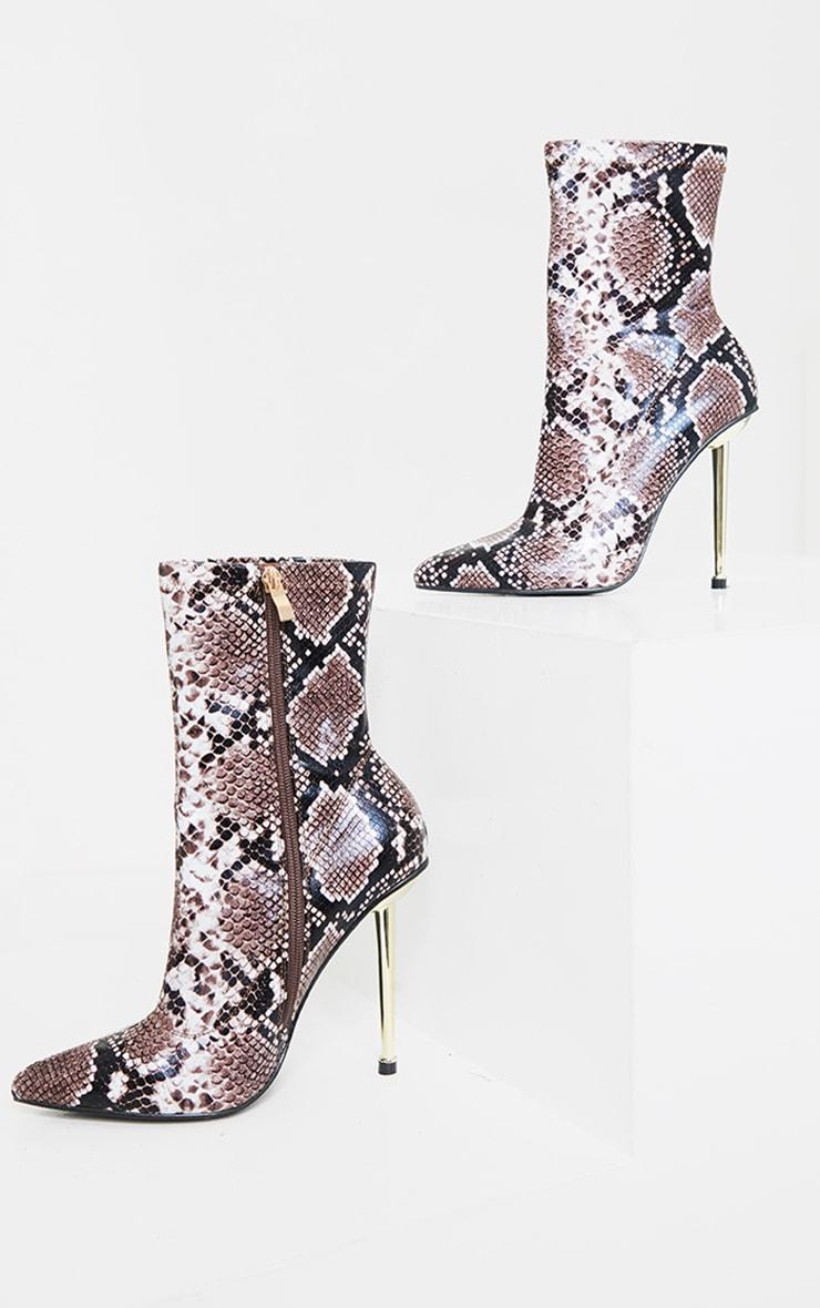 Brown Snake Metal Heeled Boots 3