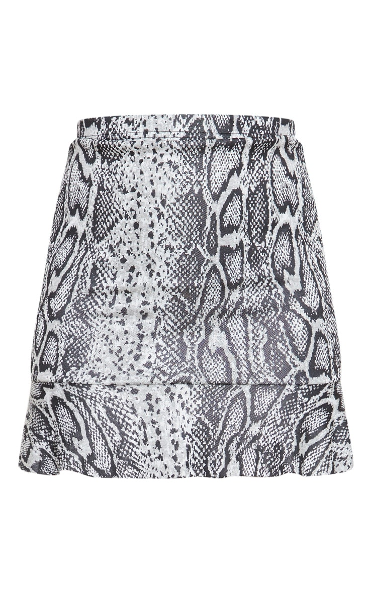 Grey Snake Jacquard Flippy Hem Mini Skirt 6