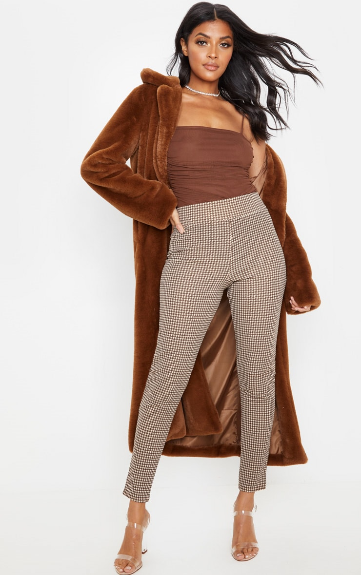 Stone Dogtooth Check Belted Skinny Pants 1