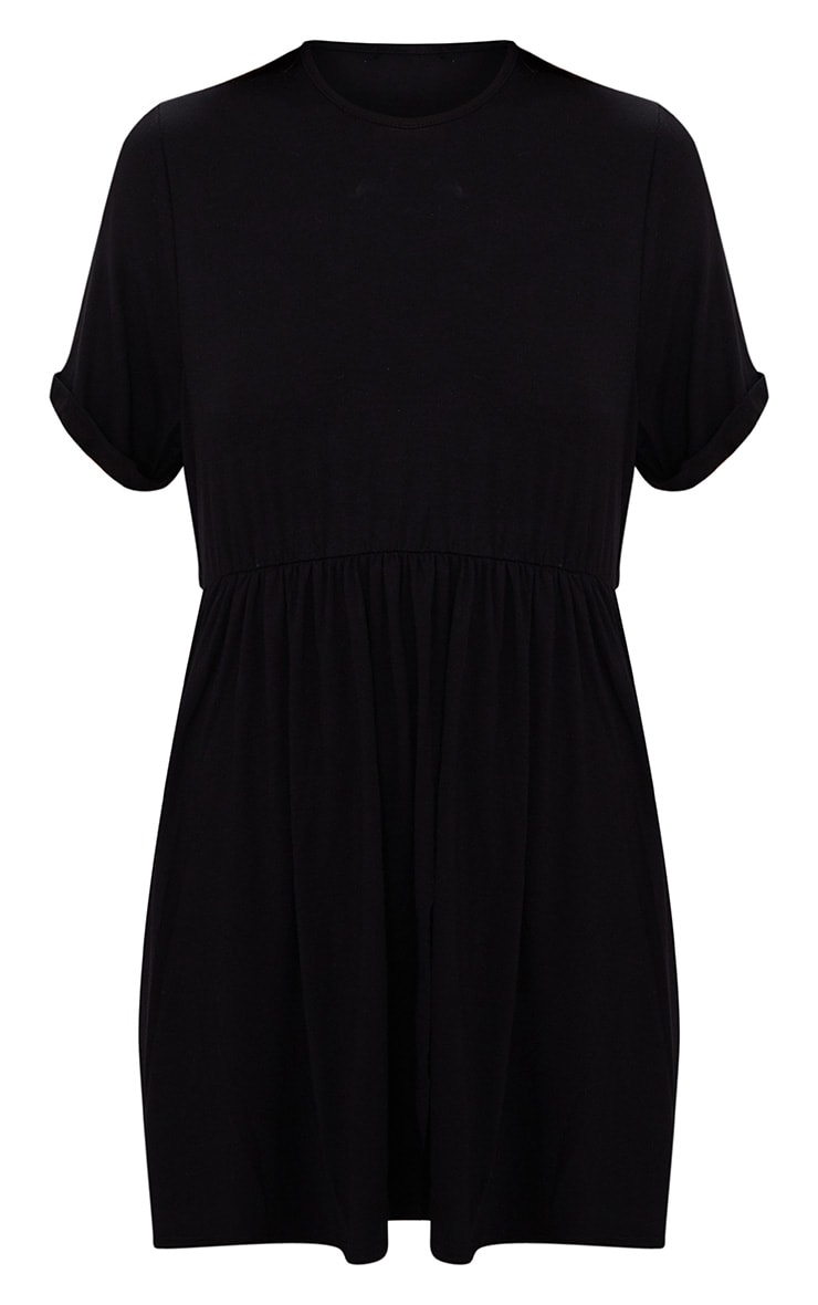 Black Jersey Oversized Smock Dress 3