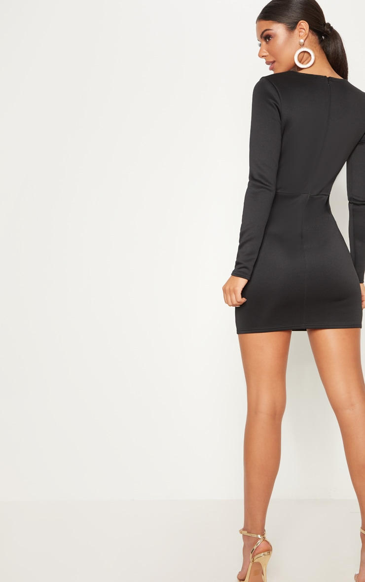 Black Long Sleeve Plunge Cut Out Detail Bodycon Dress 2