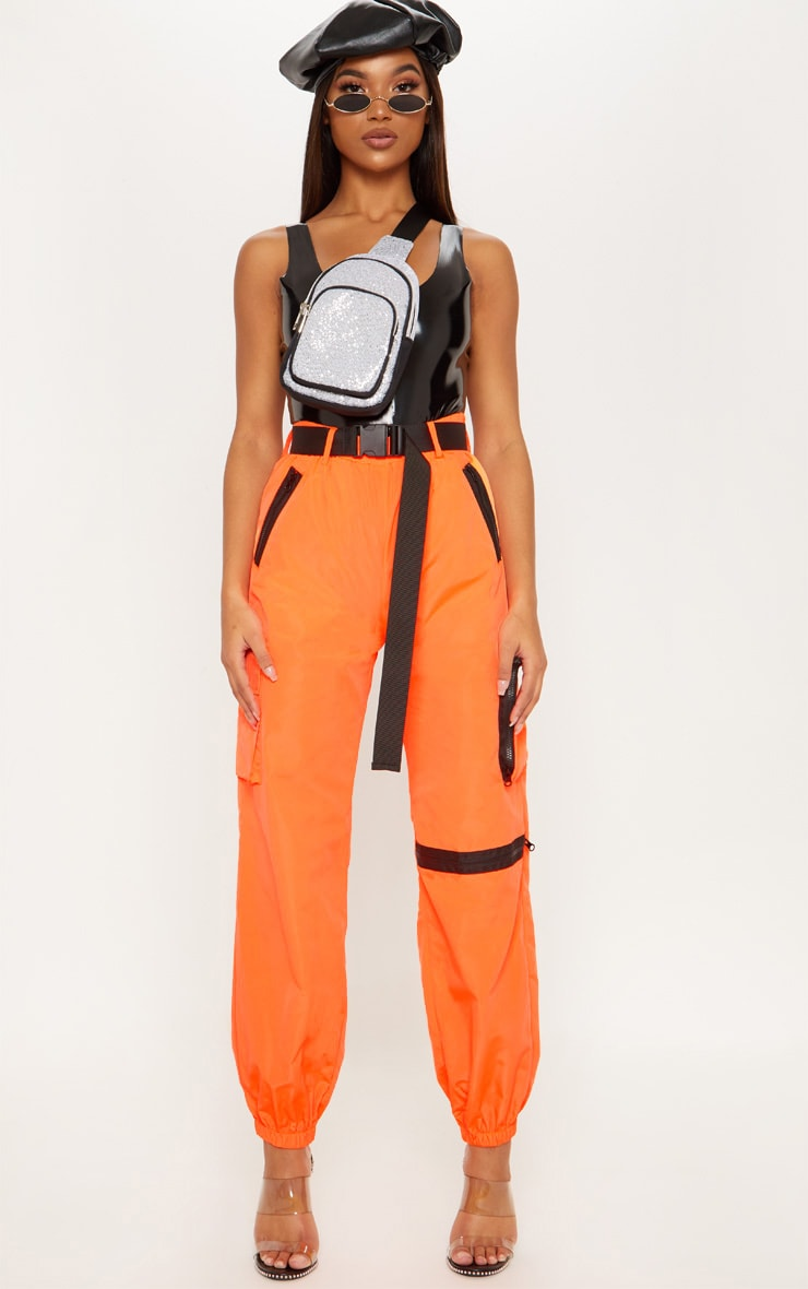Neon Orange Shell Belted Pocket Detail Joggers 1