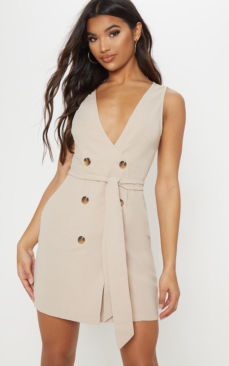 Beige Button Front Sleeveless Blazer Dress 1