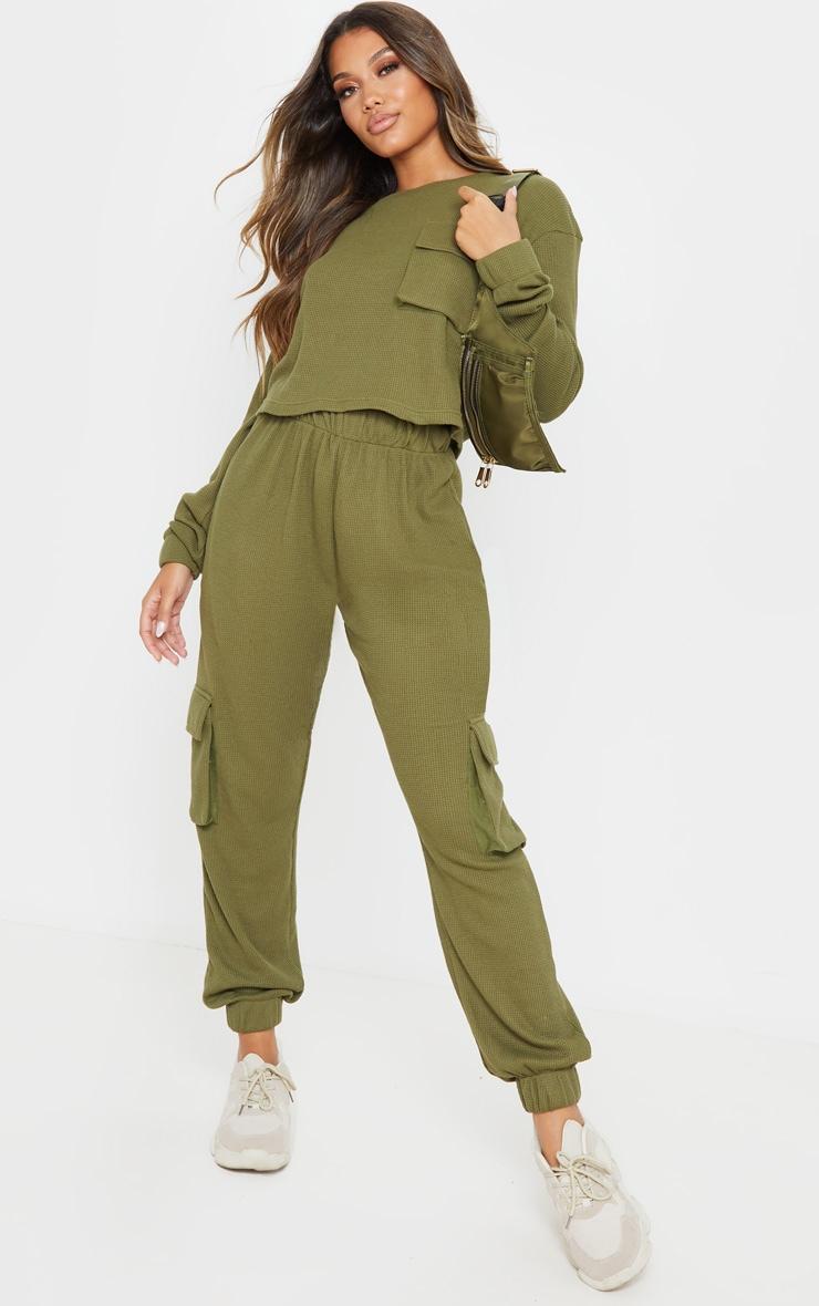 Crop top en maille gaufrée kaki à manches longues et poche 4