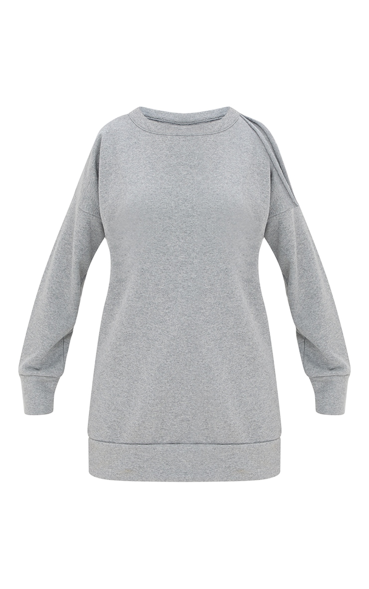 Petite Grey Marl Cut Out Shoulder Oversized Sweater Dress 3
