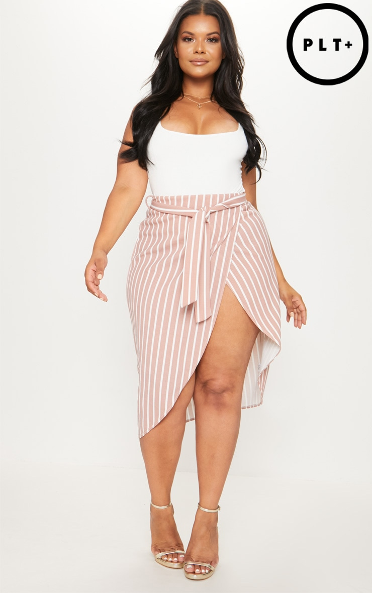 Plus Nude Striped Tie Waist Midi Skirt 1
