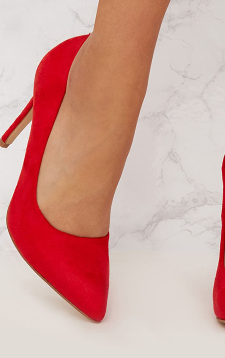 Red Faux Suede Pointed Heeled Court Shoe 5
