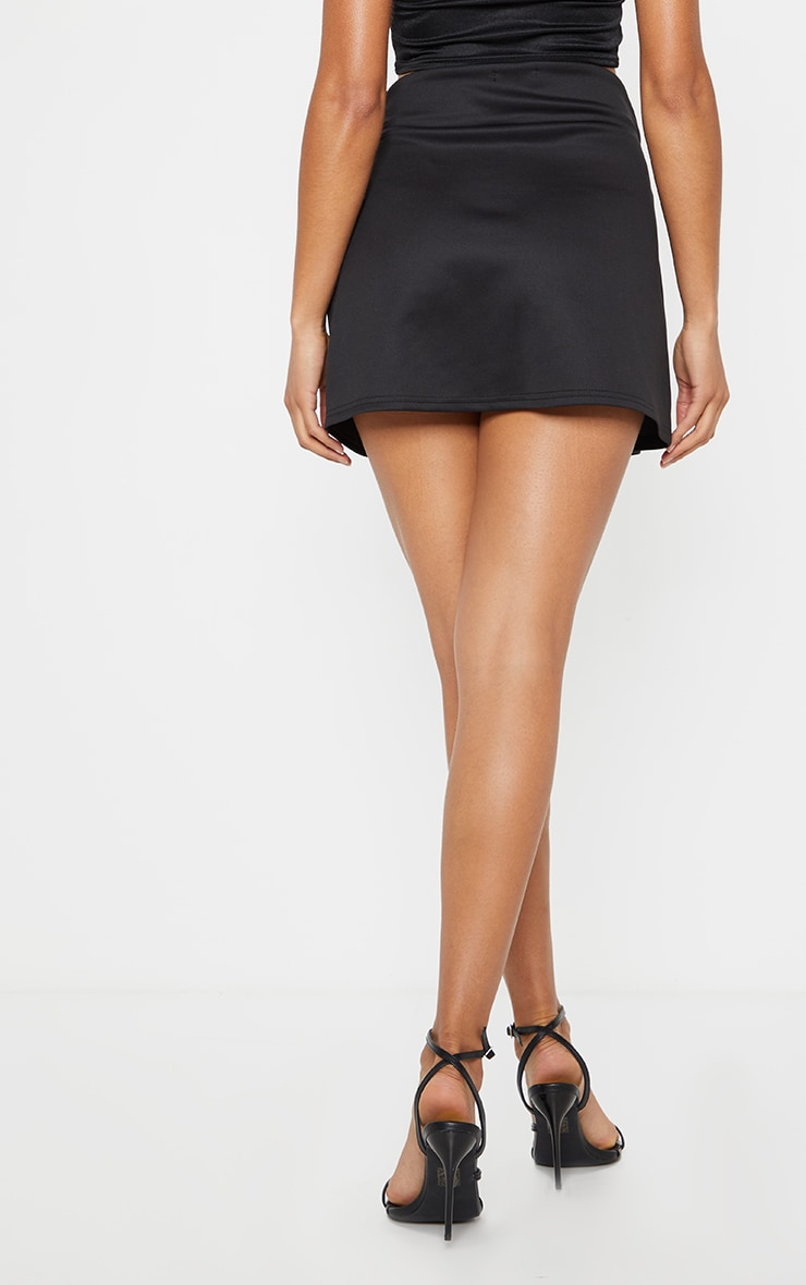 Black Scuba Wrap Mini Skirt 3