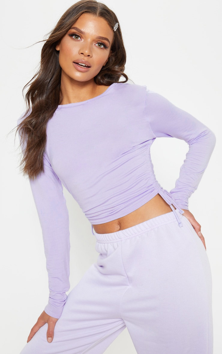 Lilac Jersey Ruched Side Long Sleeve Top 1