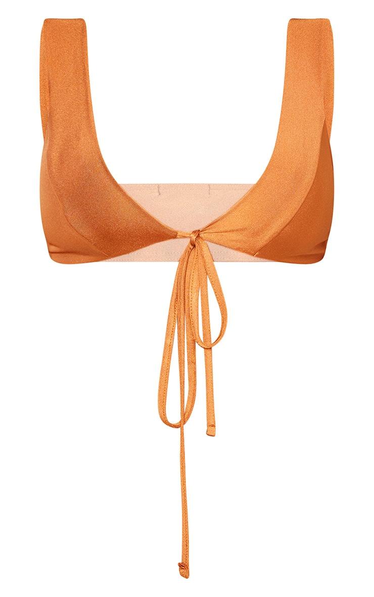 Shape Brown Tie Front Bikini Top 3