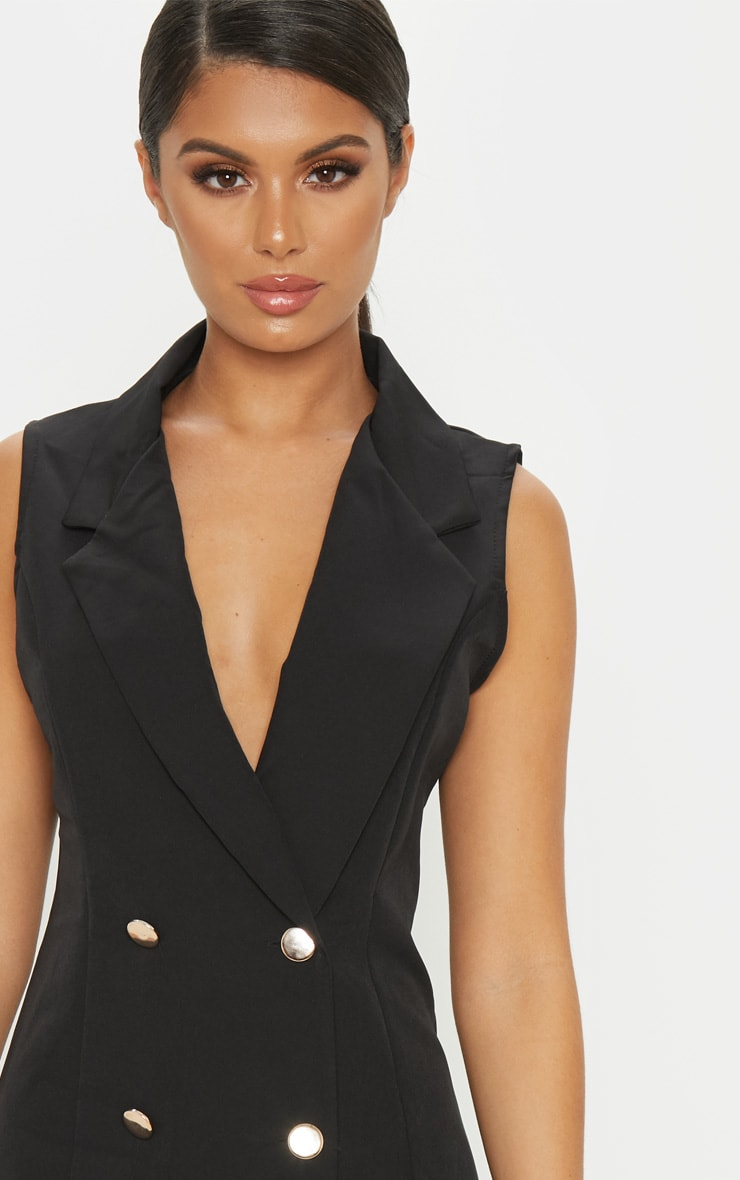 Black Sleeveless Blazer Dress 5