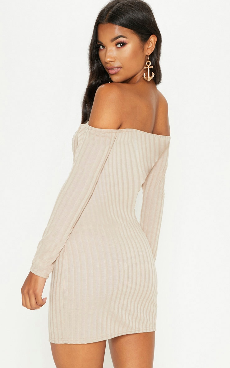 Stone Ribbed Button Detail Dress  2